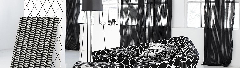 Extravagantes Wohnzimmer in schwarz-weiß